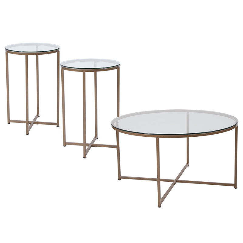 Flash Furniture Greenwich Collection 3 Piece Coffee and End Table Set with Glass Tops and Matte Gold Frames - Pot Racks Plus