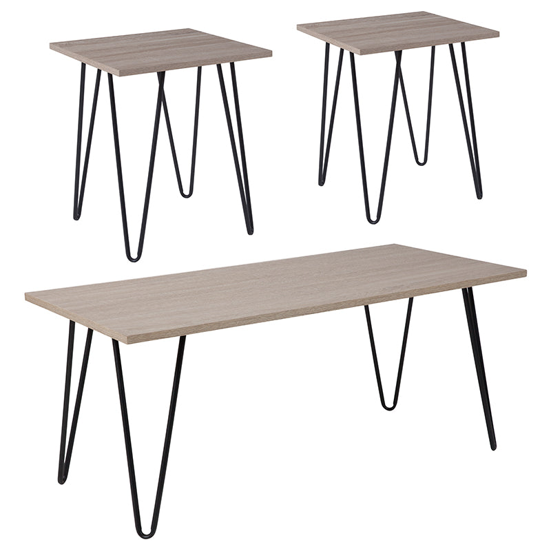 Flash Furniture Oak Park Collection 3 Piece Coffee and End Table Set in Driftwood Wood Grain Finish and Black Metal Legs - Pot Racks Plus
