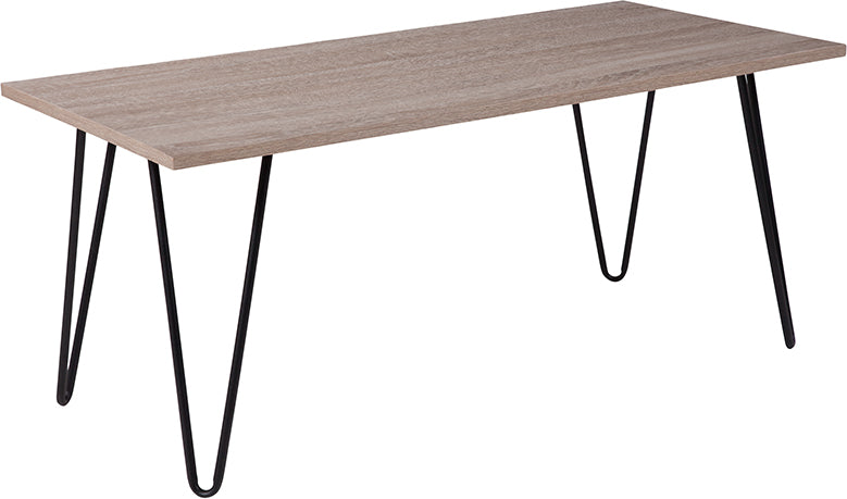 Flash Furniture   Oak Park Collection Driftwood Wood Grain Finish Coffee Table with Black Metal Legs - Pot Racks Plus