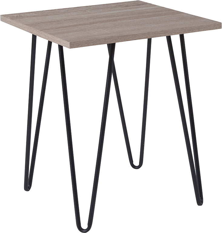 Flash Furniture   Oak Park Collection Driftwood Wood Grain Finish End Table with Black Metal Legs - Pot Racks Plus