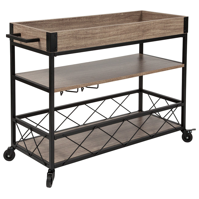 Flash Furniture   Buckhead Distressed Light Oak Wood and Iron Kitchen Serving and Bar Cart with Wine Glass Holders - Pot Racks Plus