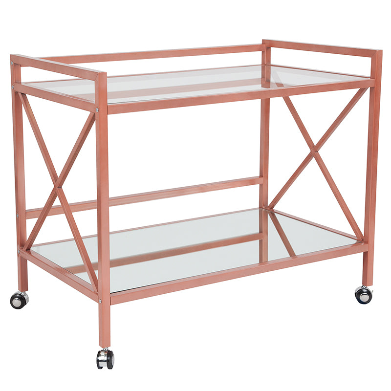 Flash Furniture   Glenwood Park Glass Kitchen Serving and Bar Cart with Rose Gold Frame - Pot Racks Plus