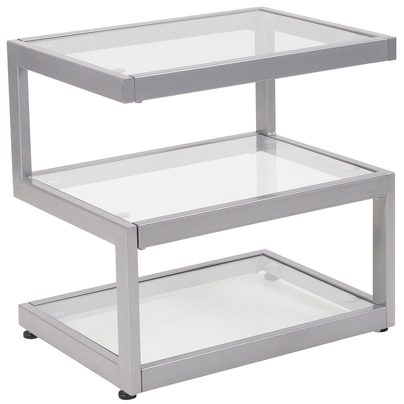 Flash Furniture   Ashmont Collection Glass End Table with Contemporary Steel Design - Pot Racks Plus
