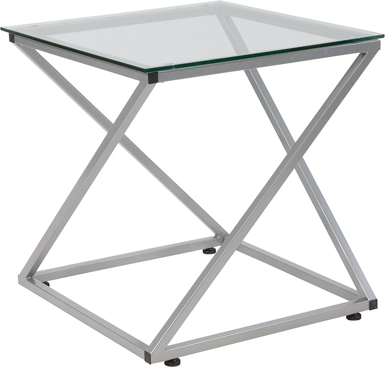 Flash Furniture   Park Avenue Collection Glass End Table with Contemporary Steel Design - Pot Racks Plus