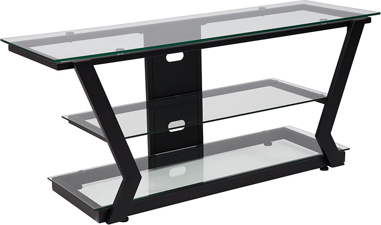 Flash Furniture   Harbor Hills Glass TV Stand with Black Metal Frame - Pot Racks Plus
