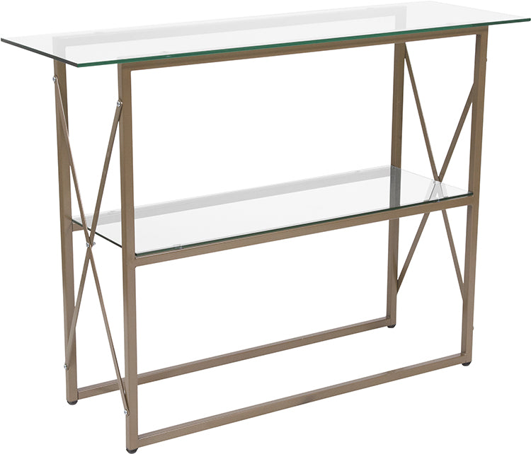 Flash Furniture   Mar Vista Collection Glass Console Table with Matte Gold Frame - Pot Racks Plus
