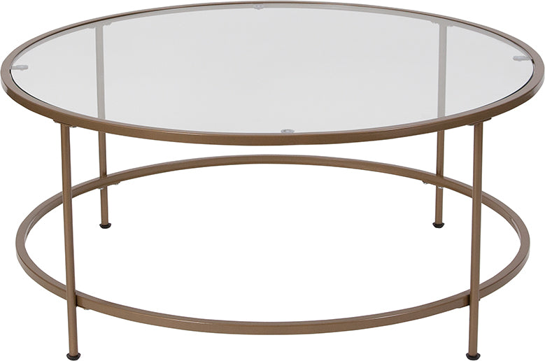 Flash Furniture   Astoria Collection Glass Coffee Table with Matte Gold Frame - Pot Racks Plus