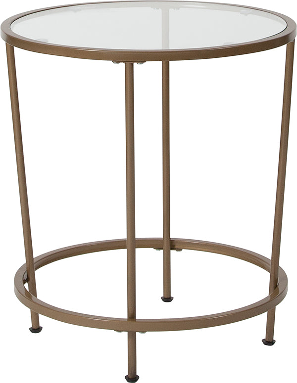 Flash Furniture   Astoria Collection Glass End Table with Matte Gold Frame - Pot Racks Plus