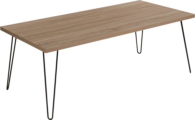 Flash Furniture Union Square Collection Sonoma Oak Wood Grain Finish Coffee Table with Black Metal Legs - Pot Racks Plus