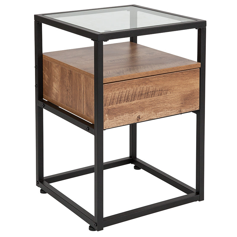 Flash Furniture Cumberland Collection Glass End Table with Drawer and Shelf in Rustic Wood Grain Finish - Pot Racks Plus