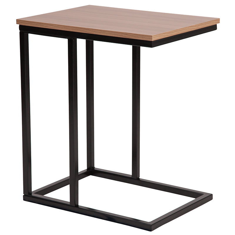 Flash Furniture Aurora Rustic Wood Grain Finish Side Table with Black Metal Cantilever Base - Pot Racks Plus