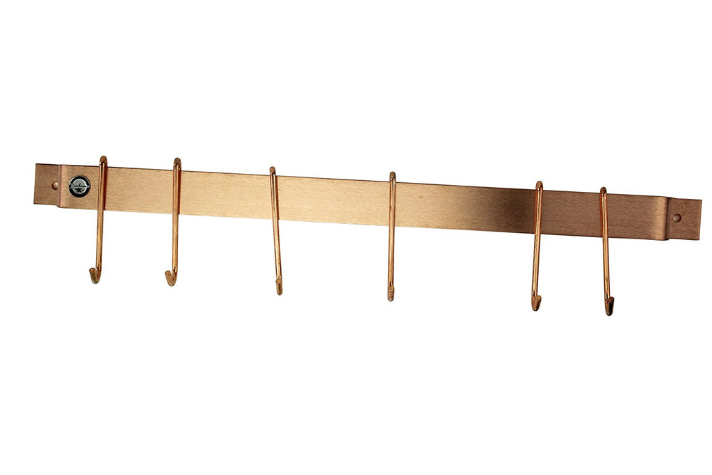"24"" Easy Mount Wall Rack Utensil Bar w 6 Hooks Solid Copper - Pot Racks Plus"