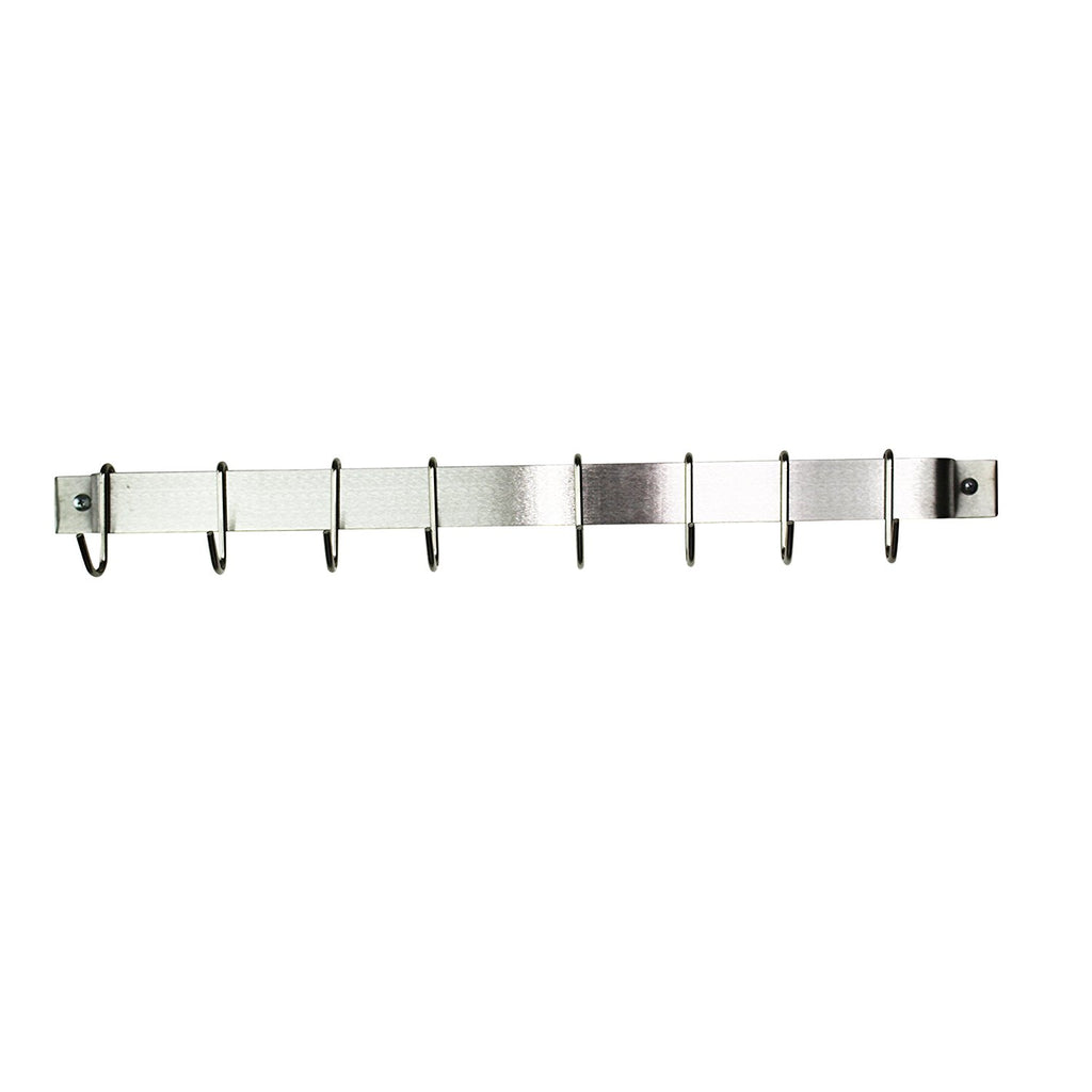 "24"" Easy Mount Wall Rack Utensil Bar With 6 Hooks, Stainless Steel - Pot Racks Plus"
