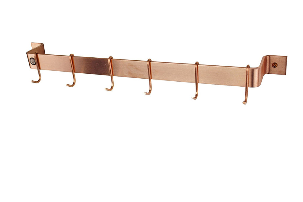 "30"" Easy Mount Wall Rack Utensil Bar w 6 Hooks Solid Copper - Pot Racks Plus"
