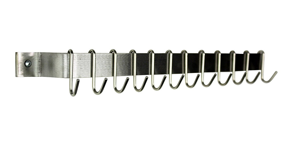 "30"" Easy Mount Wall Rack Utensil Bar With 6 Hooks, Stainless Steel - Pot Racks Plus"