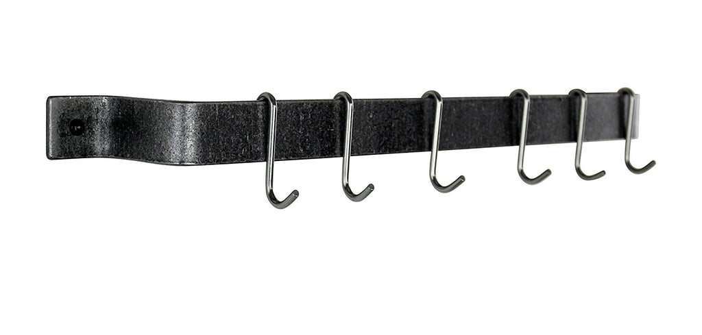 "36"" Easy Mount Wall Rack Utensil Bar w 6 Hooks Hammered Steel - Pot Racks Plus"