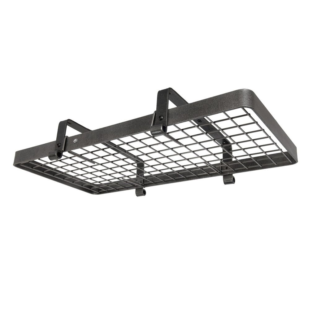 Premier Low Ceiling Rectangle Pot Rack W, Grid, Hammered Steel - Pot Racks Plus