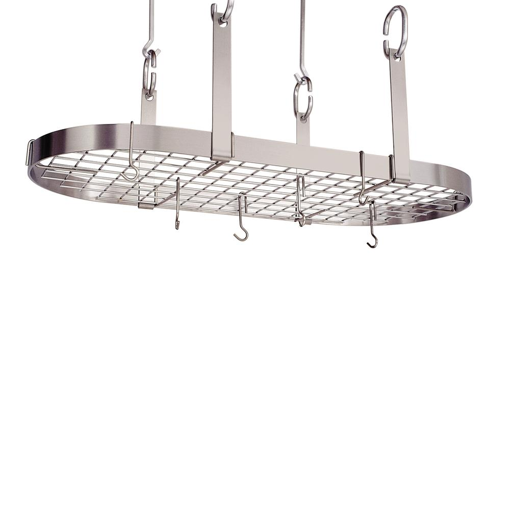 Premier 4-Point Oval Pot Rack W, Grid, Stainless Steel - Pot Racks Plus