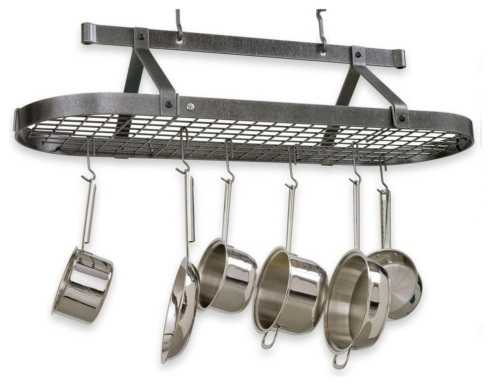 Premier 4 foot Oval Pot Rack W, Grid, Hammered Steel - Pot Racks Plus