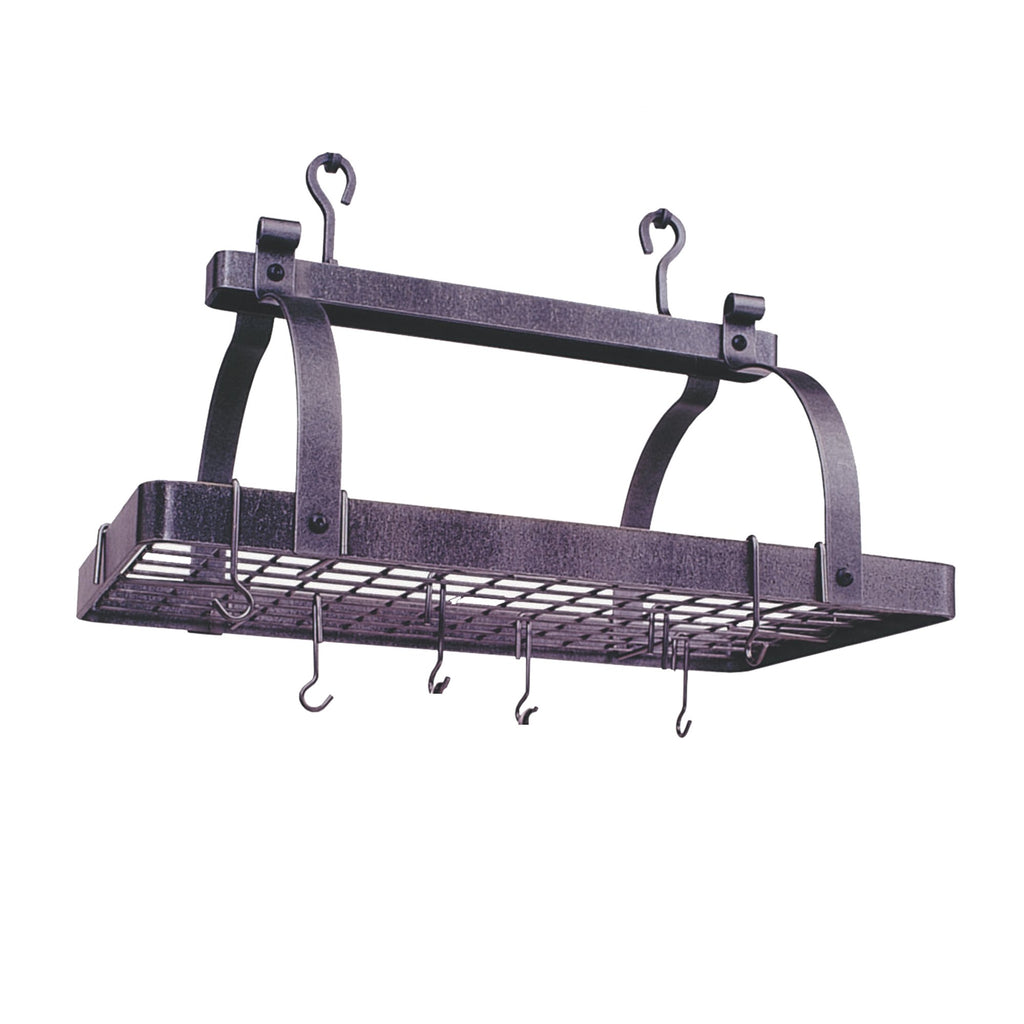 Premier Classic Rectangle Pot Rack W, Grid, Hammered Steel - Pot Racks Plus