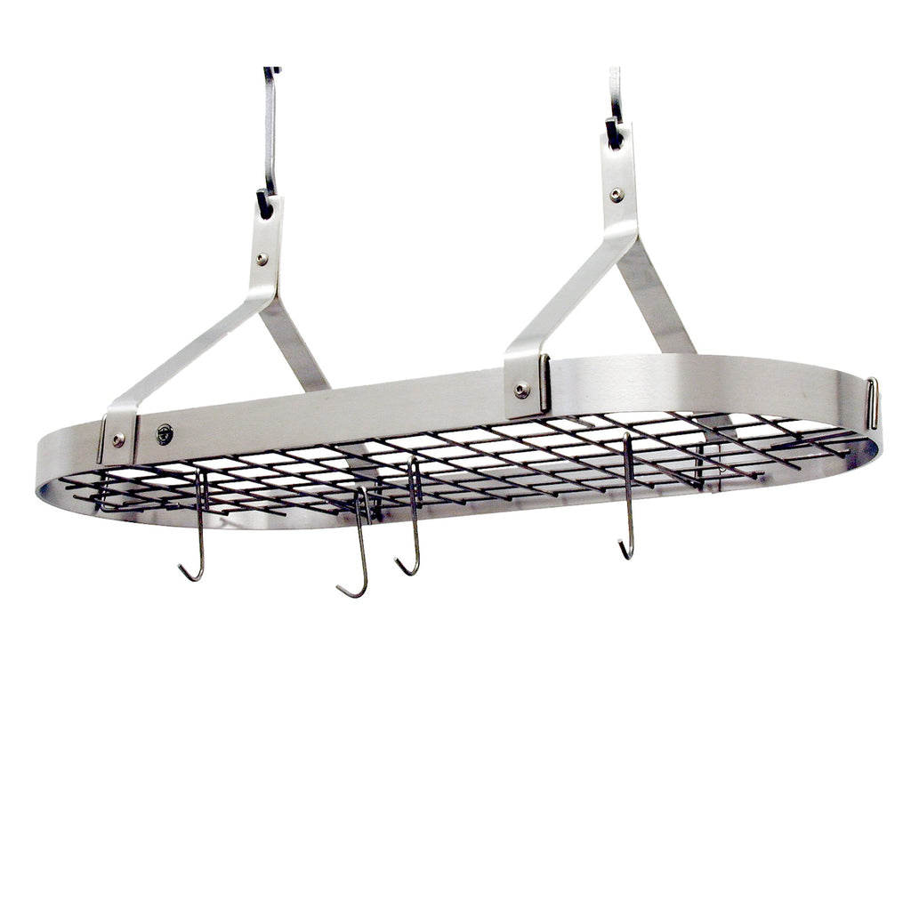 Premier Contemporary Oval Pot Rack W, Grid Stainless Steel - Pot Racks Plus