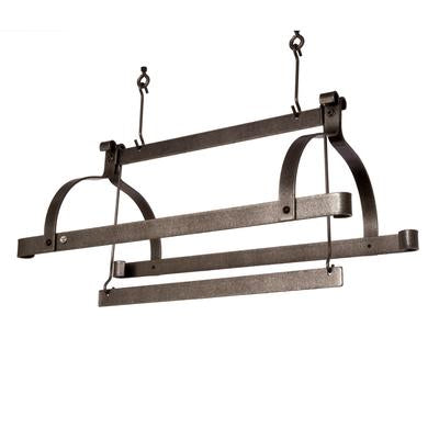 Premier Three Bar Rack - Hammered Steel - Pot Racks Plus