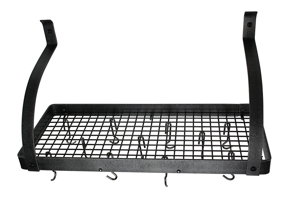"36"" Gourmet Deep Bookshelf Wall Rack w Curved Arms & 12 Hooks Hammered Steel - Pot Racks Plus"