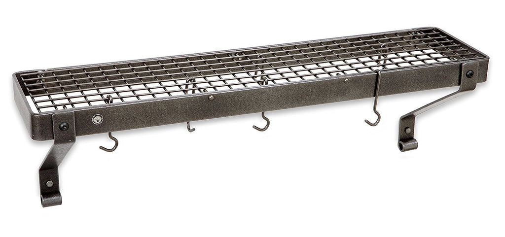 "30"" Gourmet Bookshelf Wall Rack w 12 Hooks  Hammered Steel - Pot Racks Plus"
