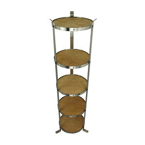 Handcrafted 5-Tier Round Designer Stand, Stainless Steel - Pot Racks Plus