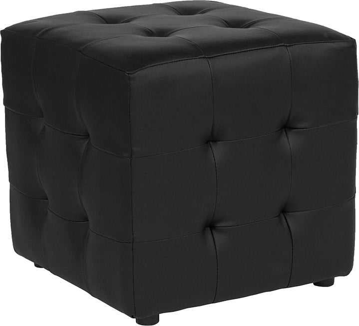 Avendale Tufted Upholstered Ottoman Pouf in Black LeatherSoft