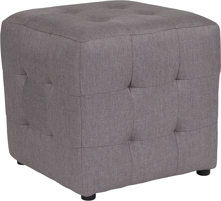 Avendale Tufted Upholstered Ottoman Pouf in Light Gray Fabric
