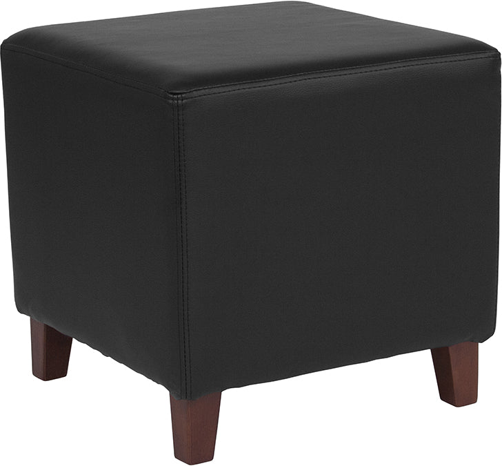 Ascalon Upholstered Ottoman Pouf in Black LeatherSoft
