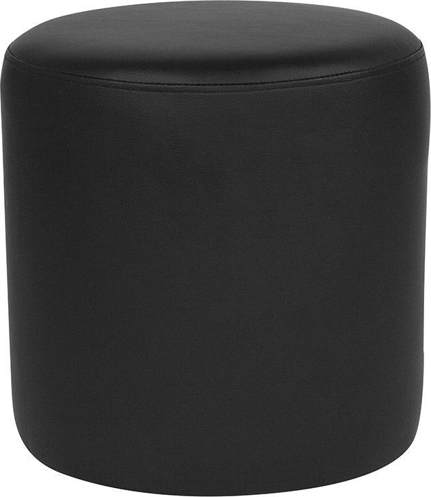 Barrington Upholstered Round Ottoman Pouf in Black LeatherSoft