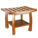 Solid Wood Spa Bench with Storage Shelf, Teak Color Finish - Pot Racks Plus