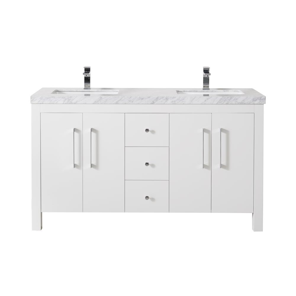 Adler 60 Inch White Double Sink Bathroom Vanity W/Drains & Faucets-Matte Black - Pot Racks Plus