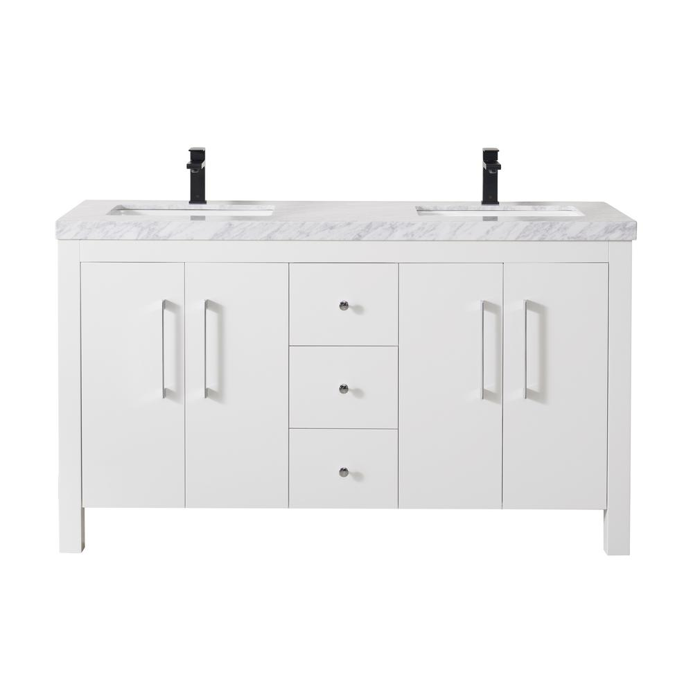 Adler 60 Inch White Double Sink Bathroom Vanity - Pot Racks Plus
