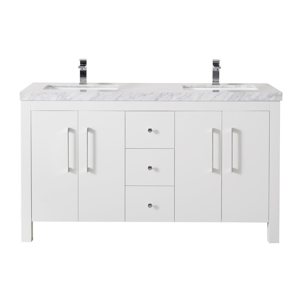 Magnolia 60 Inch White Double Sink Bathroom Vanity W/Drains & Faucets-Chrome - Pot Racks Plus
