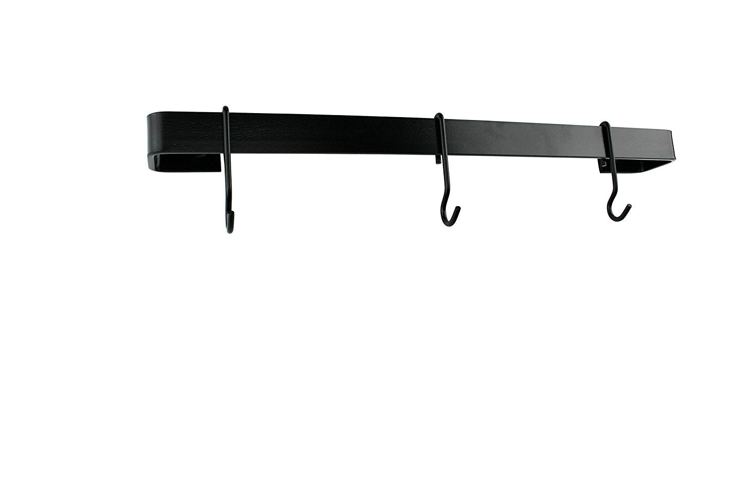 "24"" Classic Wall Rack Utensil Bar With 6 Hooks, Black Steel - Pot Racks Plus"