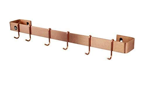 "36"" Classic Wall Rack Utensil Bar With 6 Hooks, Solid Copper - Pot Racks Plus"