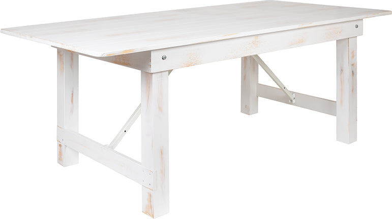 "Flash Furniture HERCULES Series 7' x 40"" Rectangular Antique Rustic White Solid Pine Folding Farm Table - Pot Racks Plus"