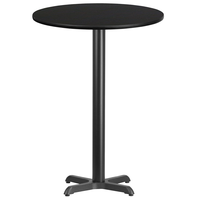 30'' Round Black Laminate Table Top with 22'' x 22'' Bar Height Table Base
