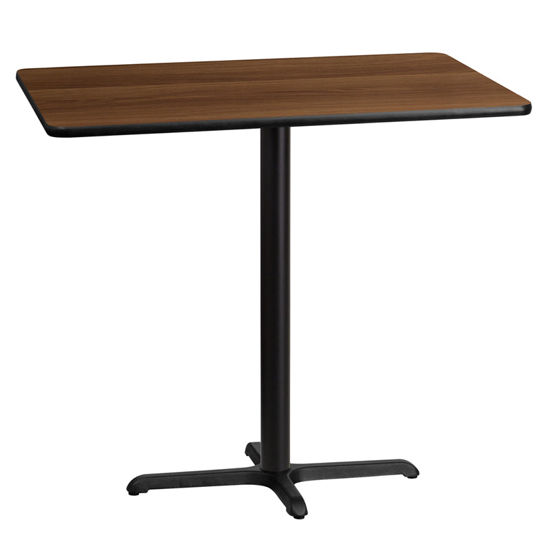 30'' x 45'' Rectangular Walnut Laminate Table Top with 23.5'' x 29.5'' Bar Height Table Base