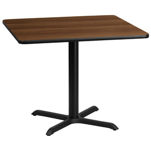 36'' Square Walnut Laminate Table Top with 30'' x 30'' Table Height Base