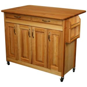 Butcher Block Island With Raised Panel Doors & Leaf - Pot Racks Plus