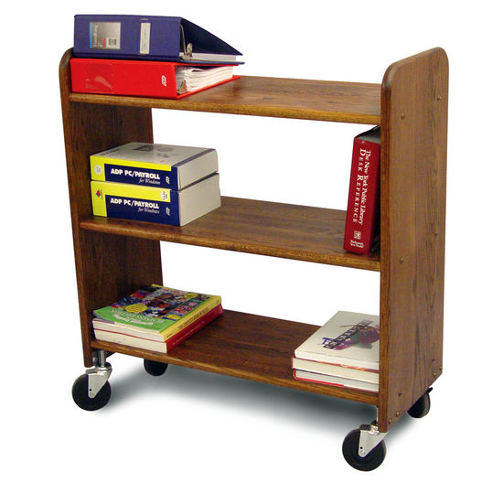 Library Book Truck Walnut Stain Birch - Pot Racks Plus