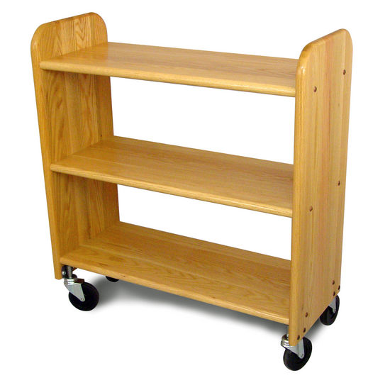 Library Book Truck, Natural Oak - Pot Racks Plus