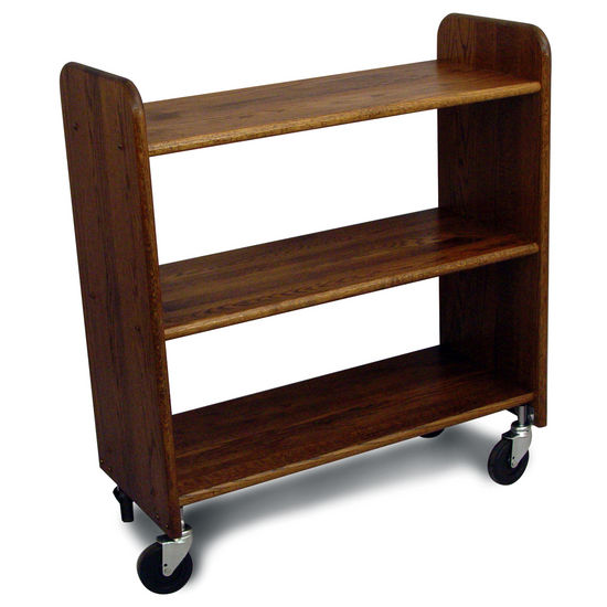 Library Book Truck, Walnut Stain Oak - Pot Racks Plus