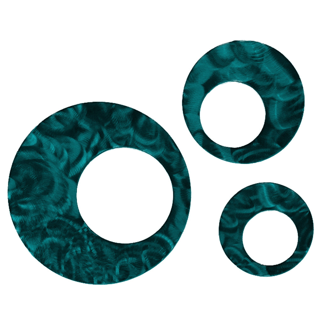 Contemporary Circles (set of 3), Candy Teal - Pot Racks Plus