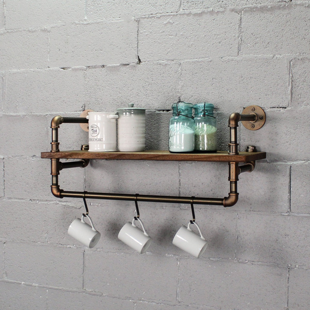 "Furniture Pipeline Ann Harbor Industrial Farmhouse 33"" Wide Shelf Rack, Rustic Bronze Combo with Light Brown Stained Wood - Pot Racks Plus"