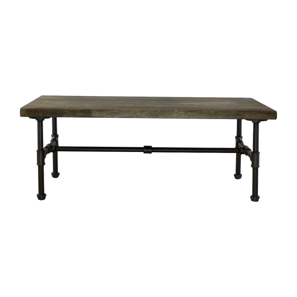 Furniture Pipeline Corvallis Industrial Chic Coffee Table, Black Steel Combo with Dark Brown Stained Wood - Pot Racks Plus